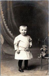 rppc Toddler boy dress shirt hat teddy bear on chair 1910-1924