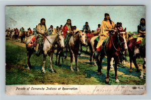 Native Americana - Parade of Comanche Indians at Reservation Vintage Postcard