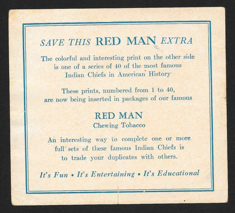 VICTORIAN TRADE CARD Red Man Tobacco American Indian Chiefs Keokuk's Son