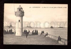 015077 FRANCE LIGHTHOUSE & SQUADRON in Cherbourg Vintage PC
