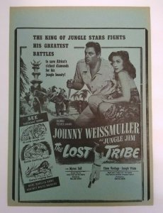 Jungle Jim The Lost Tribe Johnny Weissmuller Movie Poster 1951 Original Vintage
