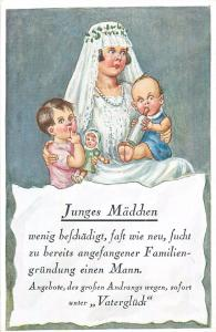 AK German sarcastic humour Junges Madchen lucky young bride girl with babies
