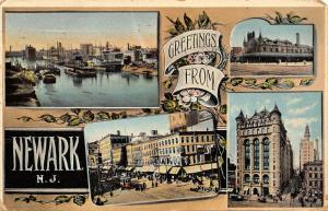 Newark New Jersey~Mini View Vignettes~Ships~National Clothing~Art Nouveau~1909