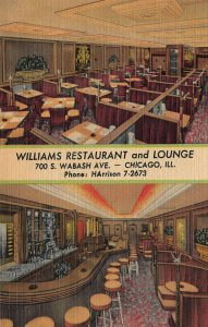 Williams Restaurant and Lounge, Chicago, IL, Early Linen Postcard, Unused