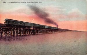 GREAT SALT LAKE UTAH OVERLAND LIMITED RAILROAD TRAIN CROSSING POSTCARD 1915
