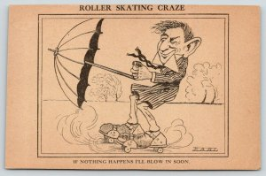 Earl Comic Pun~I'll Blow in Soon~Roller Skating Craze~Umbrella Catches Wind~1908
