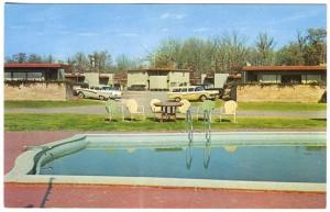 Little Rock AR Rose Courts Motel Old Cars Swimming Pool Lodging Postcard