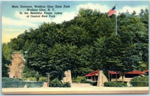 Watkins Glen State Park, New York Postcard Main Entrance Curteich Linen c1940s
