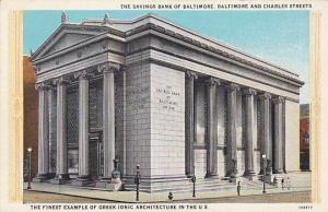 BALTIMORE, Maryland, 00-10s; The Savings Bank Of Baltimore, Baltimore & Charles