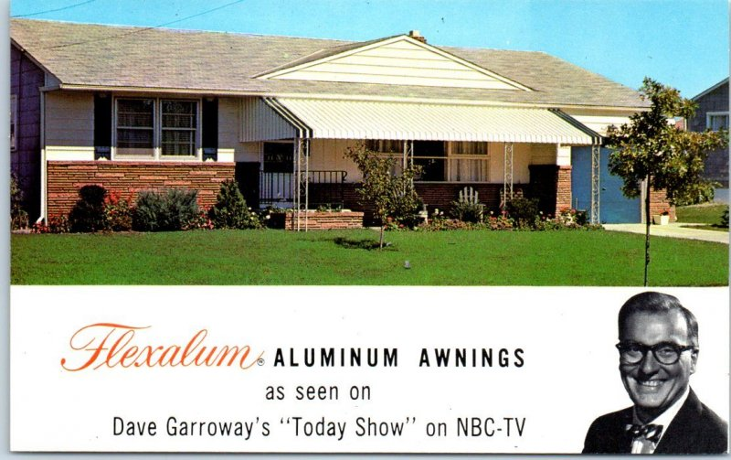 1950s FLEXALUM Aluminum Awnings Adv. Postcard NBC Today Show Dave Garroway