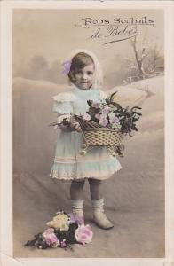 RP; Tinted, Bons Souhails de Bebe, Little girl holding basket of flowers, P...