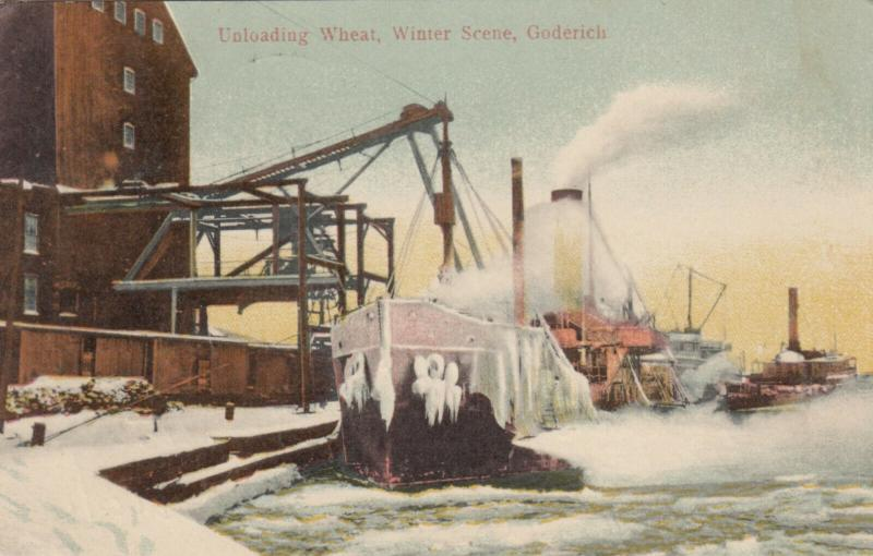 GODERICH , Ontario , 1908 ; Unloading Wheat from ships in Winter