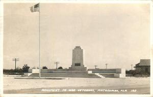 Matacumbe Florida~Monument to War Veterans~1938 Postcard RPPC