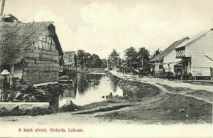 malay malaysia, LABUAN VICTORIA BORNEO, A Back Street (1910s) Postcard