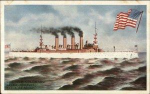 US Navy Naval Cruiser Ship Colorado & American Flag c1910 Postcard