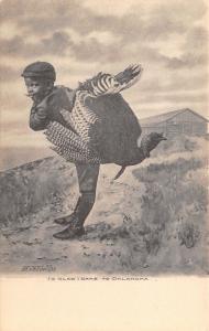 Oklahoma Black Americana~I's Glad I Came~Boy With Huge Turkey~1907 Albertype PC