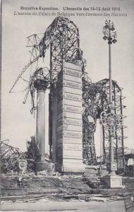 Exposition Universelle Bruxelles Fire 1910 L'entree du Palais de Belgique