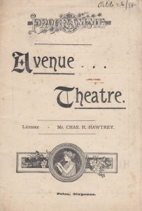 Lord & Lady Algy Mayfair London Victorian Comedy Avenue Theatre Programme
