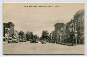 South Main Street Cars Wadsworth Ohio 1940s postcard