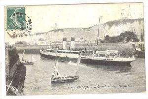Steamer, Depart d'Un Paquebot, Dieppe (Seine Maritime), France, 1900-1910s