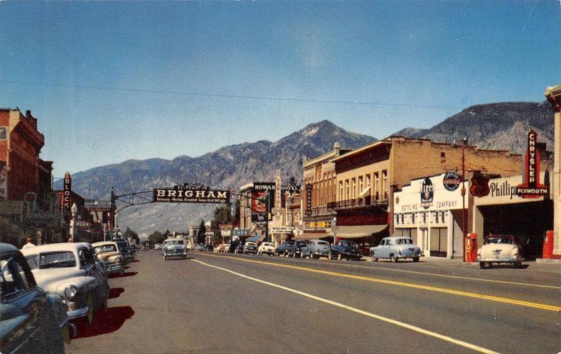 Brigham City Utah~Main Street~Chrysler Plymouth Car Dealership~66 Gas~1950s Cars