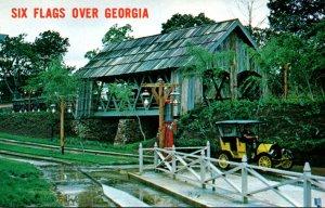 Georgia Atlanta Six Flags Over Georgia Covered Bridge and Hansom Auto
