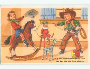 Unused Pre-Chrome western COWGIRL RIDES ROCKING HORSE AND BOY THROWS LASSO J4212