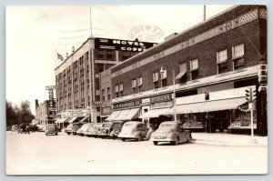 Newton Iowa~East Side Square~Theatre~Woolworth~Spurgeon's~Hotel Maytag~1940 RPPC