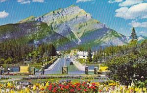 Canada Banff Main Street and Cascade Mountain Alberta