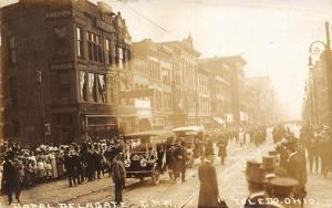 Toledo OH~Papal Delegate~PRK~Parade~Marching Band~Wersell's~Chester~RPPC c1910