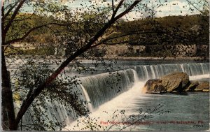 Postcard PA Pennsylvania Philadelphia Flat Rock Dam Schuylkill Riveer Posted