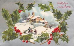 Christmas Holiday Postcard Publisher John Winsch Writing on Back
