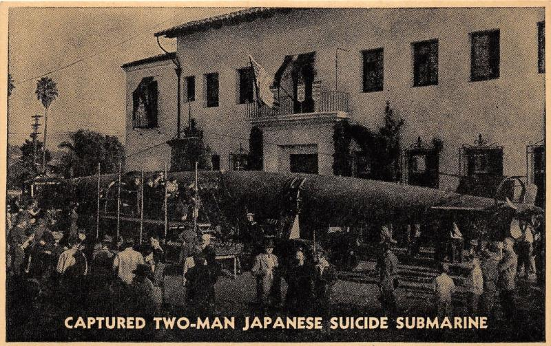 WWII~Captured Japanese 2-Man Suicide Submarine~Oahu~1941 Military Postcard