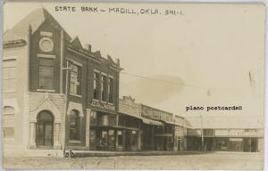 MADILL, OKLAHOMA STATE BANK AND STREET VIEW RPPC REAL PHOTO POSTCARD