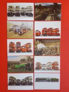 Rare Superb Collection of 10 Miniature Art Postcards of Trains and Buses NEW