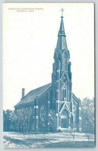 Haverhill Ohio~Immaculate Conception Church~Tall Steeple~c1910 Postcard