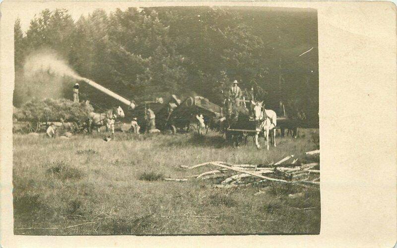 C-1910 Farm Agriculture Harvesting Machine RPPC Photo Postcard 8524