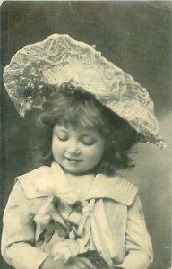 Cute Little Girl in Big Hat & Sailor Dress Antique 1907 Photo Postcard