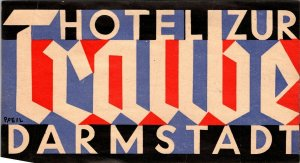 Germany Darmstadt Hotel Zurt Traube Small Vintage Luggage Label sk4874