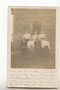 Real Photo 5 Women 2 Men in Front of House, Springfield Massachusetts