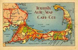 MA - Cape Cod. Tourists' Auto Map