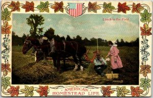 1908 Farming Agriculture Postcard AMERICAN HOMESTEAD LIFE - Lunch in the Field