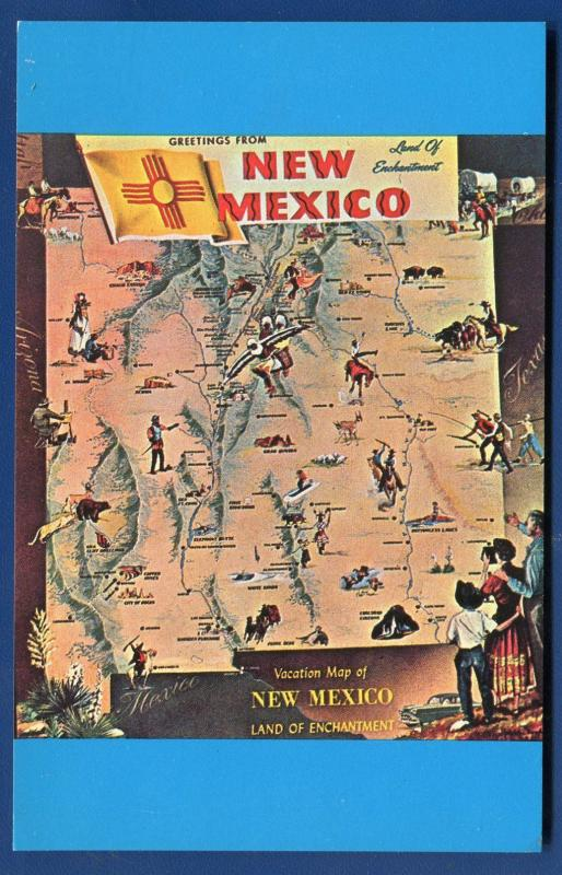 New Mexico nm Land of Enchantment Vacation Map chrome postcard