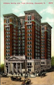 Ohio postcard Cleveland Citizens Saving and Trust Building bank ca 1911 - POSTED