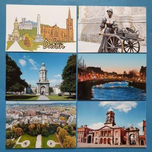 Set of 6 New Glossy Postcards DUBLIN Ireland Eire Castle River Liffey Malone 20P
