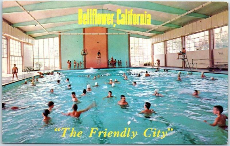 Bellflower California Postcard The Friendly City Municipal Swimming Pool 1960s