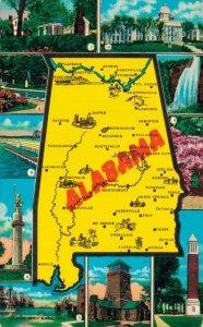 USA Alabama Map Vintage Postcard 07.32
