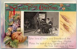 Vintage Winsch THANKSGIVING Holiday Postcard Pilgrim Woman Spinning Wheel c1910s