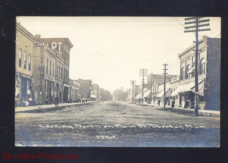 RPPC DECATUR MICHIGAN DOWNTOWN MAIN STREET SCENE OLD REAL PHOTO POSTCARD
