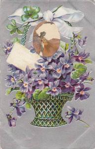 Embossed, Basket of Violets, Window of  Dryed Violet, PU-1906